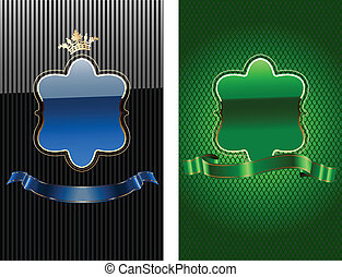 Glow Blue And Green Royal Ornate Banner. Vector...