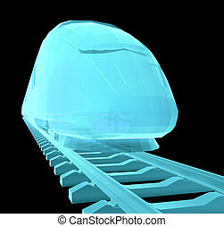 Glow blue high-speed train on black background. 3d...