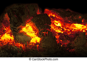 Close up of glow of a dying fire