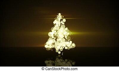 glow gold christmas tree shape loopable animation