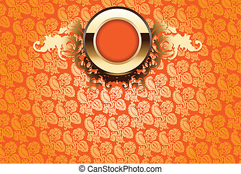Glow Gold Ornate Over Orange Yellow Wallpaper