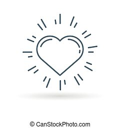 Glow heart icon on white background