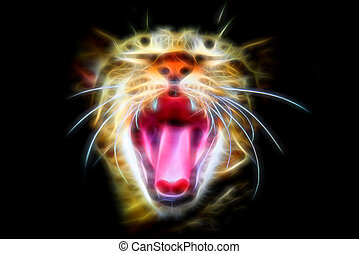 Glow image of Bengal cat in looking