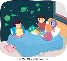 Glow in the Dark Bedroom Stickers - Illustration of Kids in...