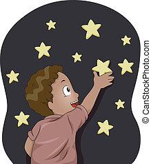 glow-in-the-dark, niño, estrellas, niño