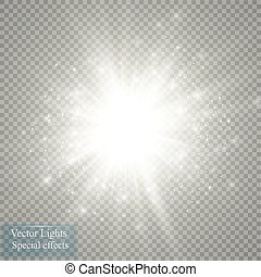 Glow light effect. Starburst with sparkles on transparent...