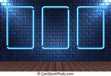 Glow - Set neon frames on brick wall for decoration...