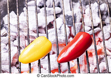glowin, carvão, dois, pimentas, sino