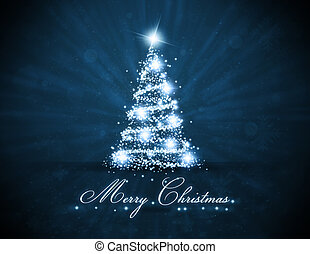 glowing, árvore, bluel, natal