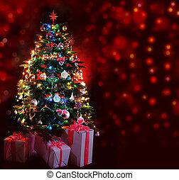 glowing, árvore, natal