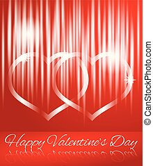 Glowing Abstract Hearts on Red Happy Valentine's Day Greeting