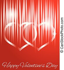 Glowing Abstract Hearts on Red with Happy Valentine's Day Greeting
