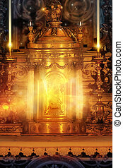 Magical glowing golden altar tabernacle with light candles and rays of light