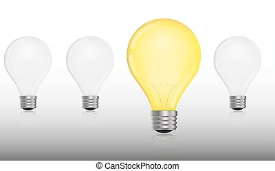 glowing and turned off electric light bulb idea and insight concept lightbulbs