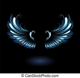 glowing angel wings - glowing, stylized angel wings on a...