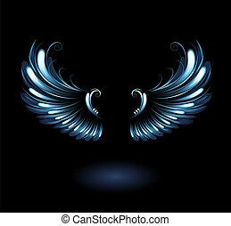glowing, stylized angel wings on a black background.