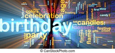 glowing, aniversário, palavra, nuvem