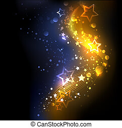 glowing , abstract , golden with blue background, decorated with stars