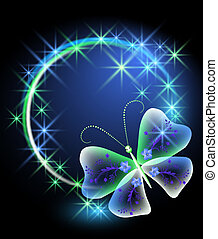 Glowing background with butterfly