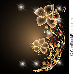 Glowing background with floral ornament
