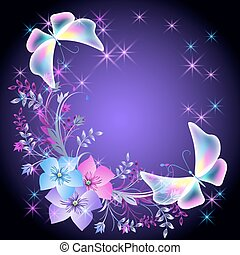 Glowing background with flowers and butterflies - Glowing...