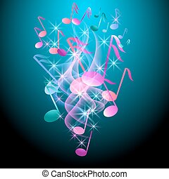 Glowing background with musical notes, smoke and stars