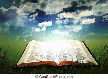 Open glowing bible