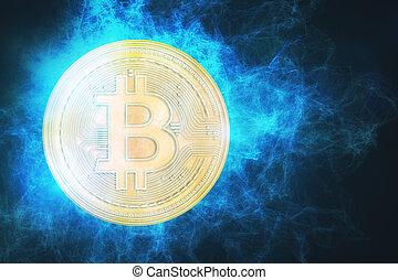 glowing, bitcoin, fundo