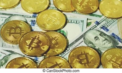 Glowing bitcoins with new banknotes - Paper US dollar bills...