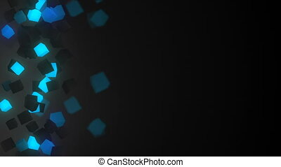 Glowing blue 3D cubes loopable background