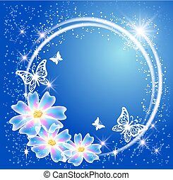 Glowing blue background with round frame, flowers, butterfly and  stars