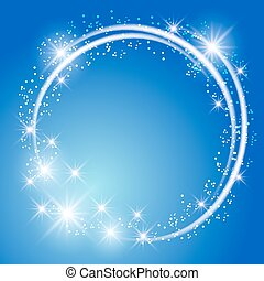 Glowing blue background with stars - Glowing blue background...