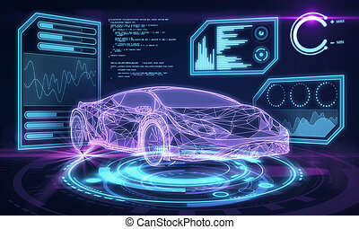 Glowing blue car interface background