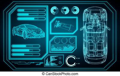 Glowing blue car interface