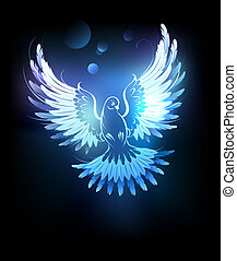 glowing blue dove - glowing , flying dove on a black...