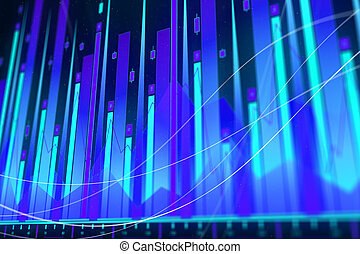 Blockchain, AI and analysis concept - Glowing blue forex...