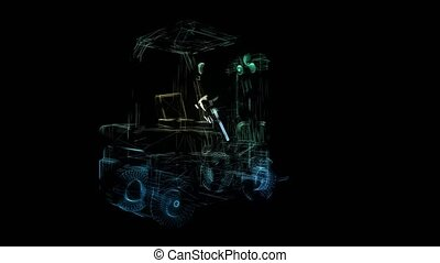 Glowing blue lines formation of Forklift 3d model. Motion animation in 3d virtual space. 4k UHD 3840x2160.