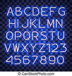Glowing Blue Neon Alphabet.