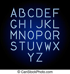 Glowing blue neon alphabet letters from A to Z. Vector illustration.