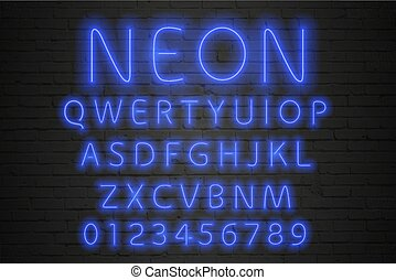 Glowing blue neon alphabet. Neon letters and numbers