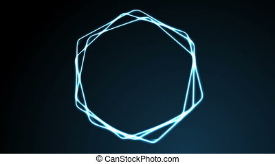 Glowing blue neon hexagons video animation