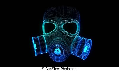 Glowing blue particles formation gas mask. Future hologram 3d model.