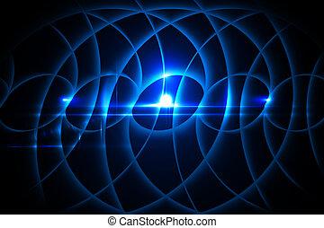 Glowing blue pattern on black background