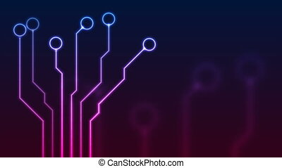 Glowing blue purple neon circuit board lines abstract motion design. Technology chip background. Video animation Ultra HD 4K 3840x2160