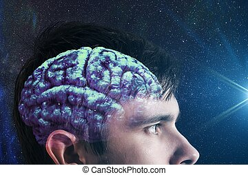 Glowing brain inside man's head. Consciousness concept.