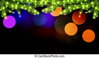 Glowing branches of a Christmas tree on a dark background bokeh
