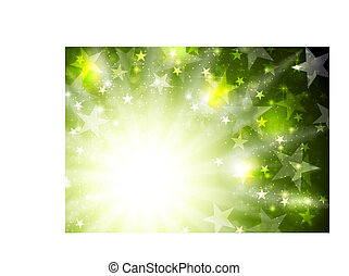 Glowing bright green background with stars and beams