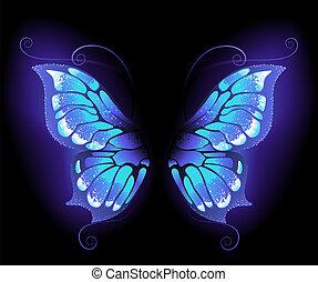 glowing, purple butterfly wings on a black background.