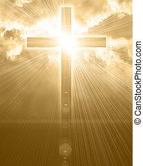 glowing, céu, crucifixos