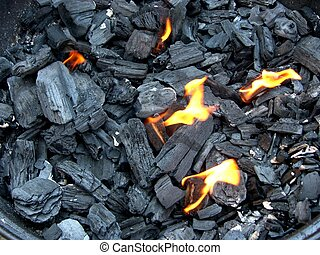 glowing charcoal for bbq